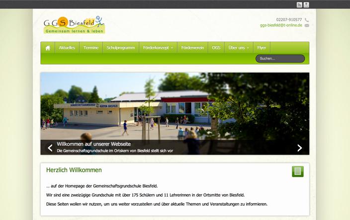 Webseite der GGS Biesfeld